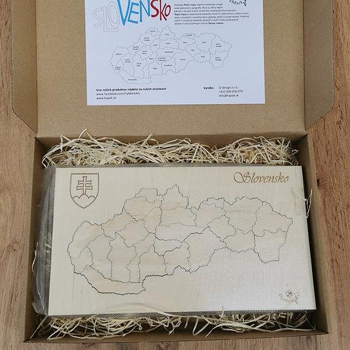 Drevené puzzle Slepá mapa Slovensko - regióny