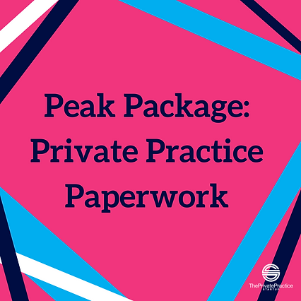 Pink infographic that says peak package: private practice papework. get therapist paperwork including treatment plan template, theapy notes template, and counseling intake form template