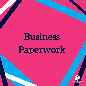 pink infographic that says business paperwork. Get your therapy forms and private practice paperwor for your business here!