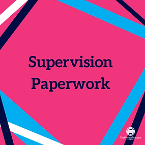 pink infographic that says supervision paperwork. Get supervision paperwork and therapist forms from Private Practice Startup