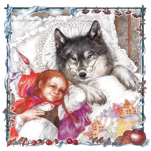 """""""Little Red Riding Hood and the Wolf"""", Illustration by Olya Tkachenko"""