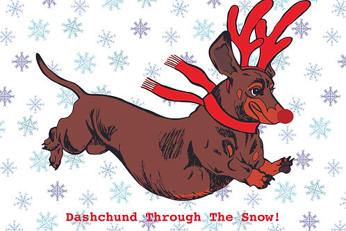 Dashchund Through The Snow Greeting Card