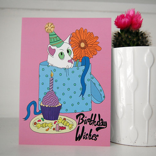 Birthday Wishes Cat Illustrated Card