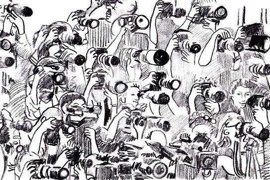 Paparazzi with Camera Sketch, Sketchbook, Pitman Draws