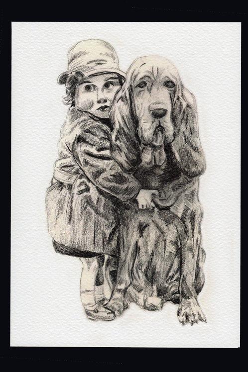 Dog and Girl Card