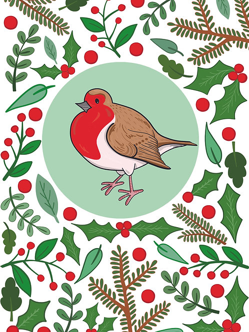 Robin and Foliage Christmas Greeting Card