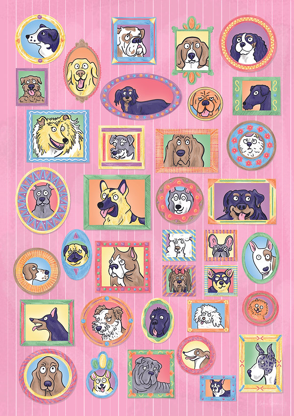 Dogs in Frames Poster Illustration   Pitman Draws