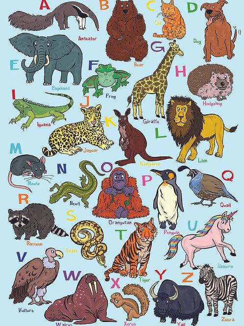 Animal Alphabet Poster A-Z   Pitman Draws