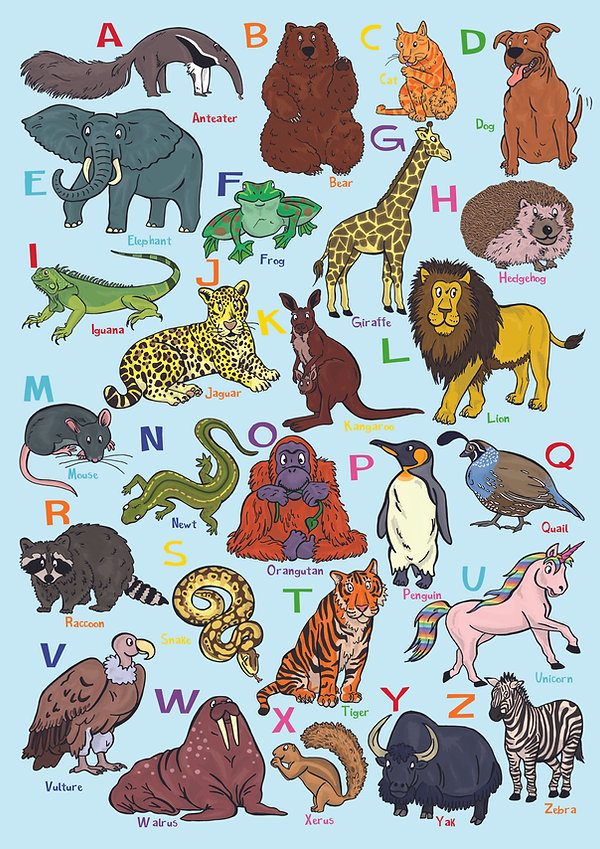 Animal Alphabet A - Z  Poster | Pitman Draws