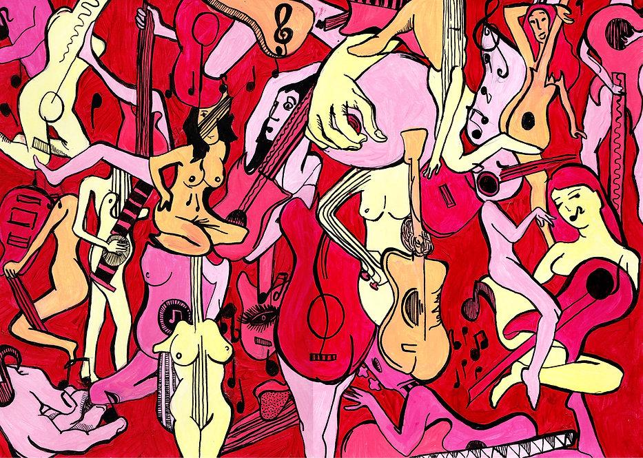 Naked Guitar Ladies, Sketchbook, Pitman Draws