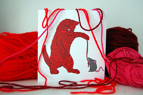 Yarn Kitty Illustrated Card