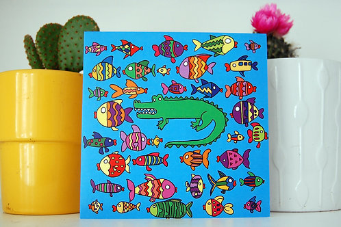 Croc and Fishies Square Greeting Card