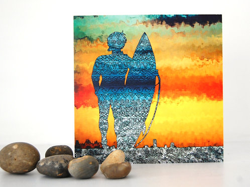Surfer Square Greeting Card