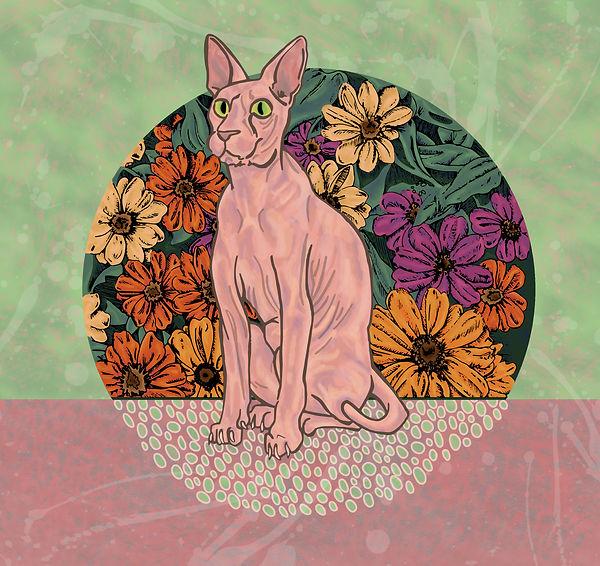 Floral Sphinx Cat Illustration | Pitman Draws