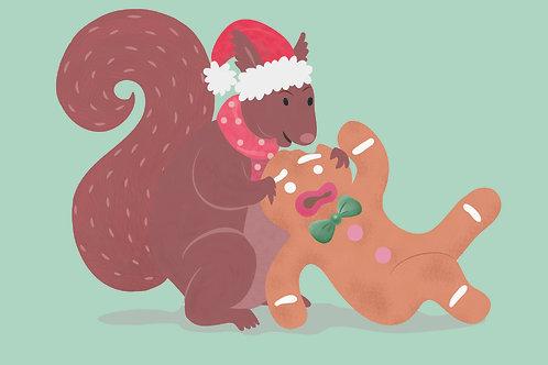 Squirrel Eating A Gingerbread Man | Pitman Draws