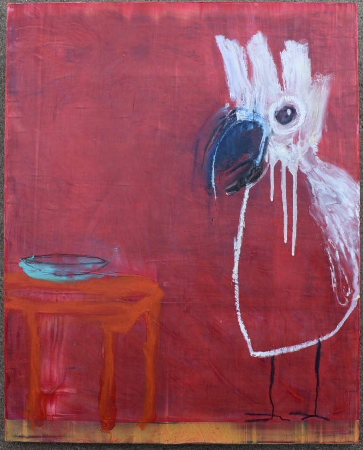 Red Table and a Cockatoo
