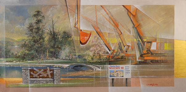 "Larry Kaiser Political Painting entitled ""Walden III"""