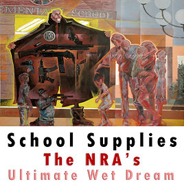 School Supplies: Often you hear or read some NRA member advocate that ALL students carry guns to school. This painting is acrylic on canvas ridiculing that idea. The first day of school. Parents arriving to buy books and supplies for their children. NRA parked at the door of the school hawking guns, as if killing instruments are a normal part of school supplies.