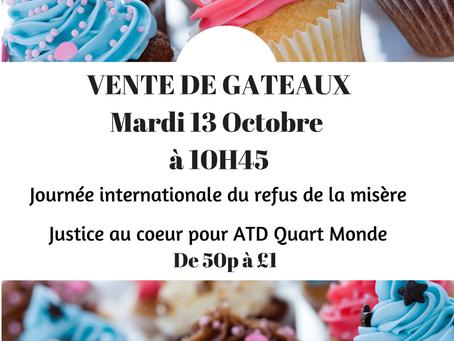 Evènement : Vente de gâteaux le 13 Octobre 2015 au profit d'ADT Quart Monde