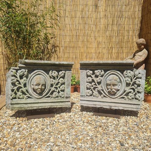 Pair of Antique Stone Plaques