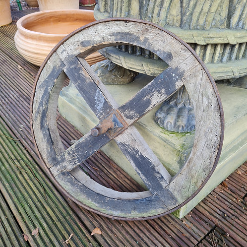Antique Metal Bound Wooden Wheel