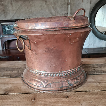 Arts & Crafts Copper Log Bin