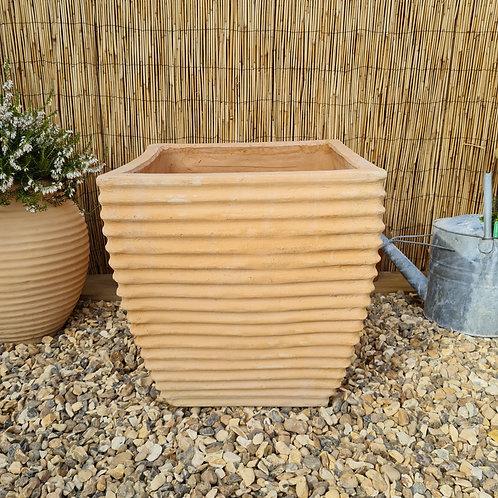 Ribbed Cretan Terracotta Cube Planter