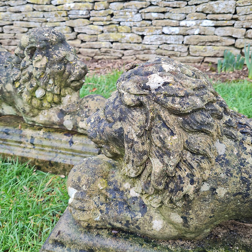 Pair of Recumbent Lion Statues