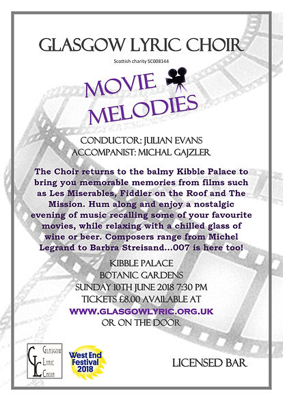 Glasgow Lyric Choir West End Festival Movie Melodes 2018