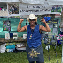 Rockin Dopsie, Jr. helps open the LICI booth for the 2021 Town of Jean Lafitte Seafood Festival.