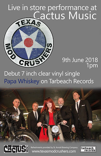 Texas Mod Crushers - Papa Whiskey vinyl single launch live gigat Cactus Music in Houston - June 2018