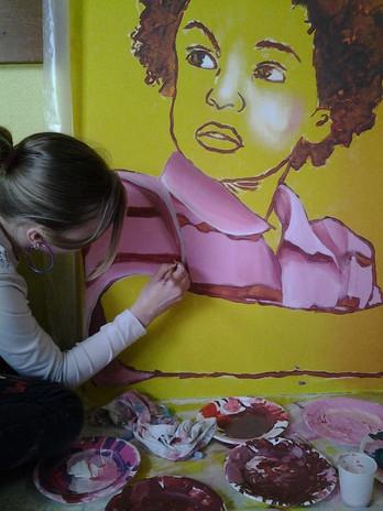 détail fresque participative collège