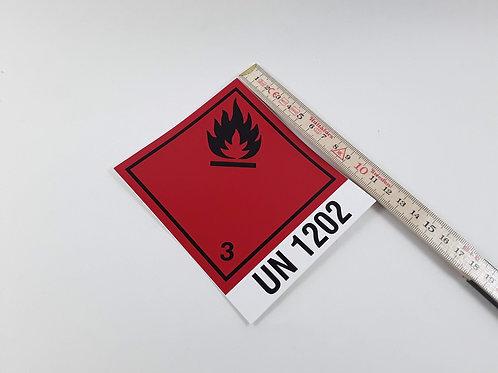 BX000076_Gefahrzettel Nr. 3 mit UN1202 10x12cm (Aufkleber)