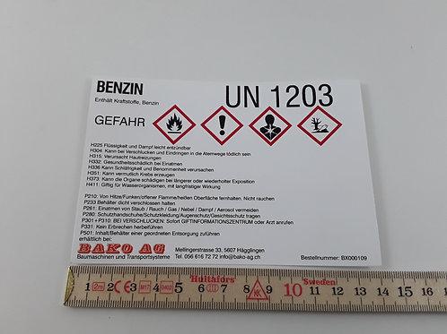 BX000109_Gefahrstoffetikette Benzin GHS, 14x9.5cm (Aufkleber)
