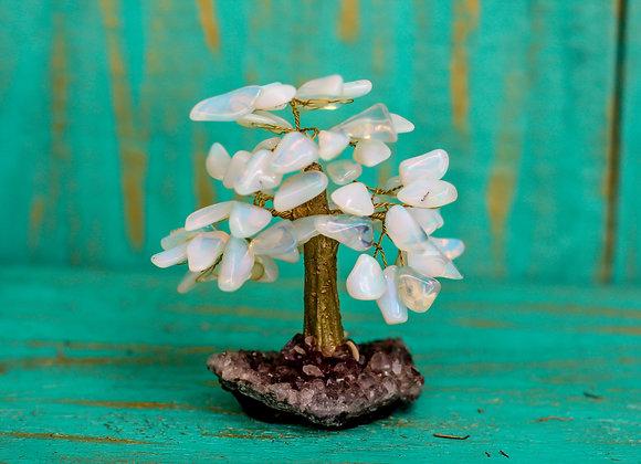 Árvore Opalina com Base de Ametista - 16 galhos
