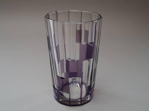紫色 市松文 切子コップ [M-037]