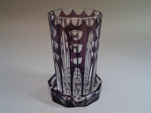 紫色切子コップ コースター付き [M-057]