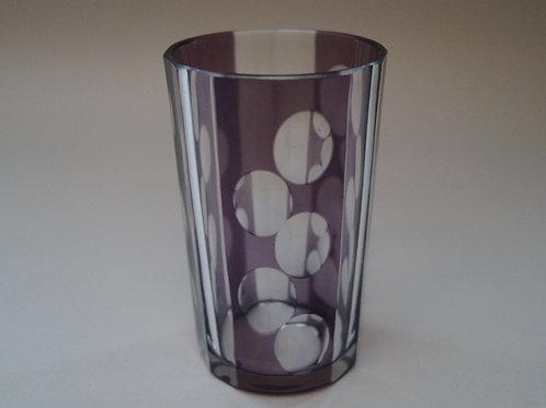 紫色 水玉文 切子コップ [M-030]