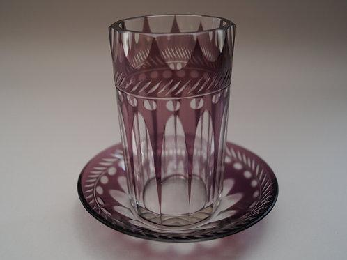 紫色切子コップ ソーサー付き [M-042]