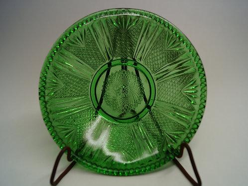 プレス 緑色 八つ割幾何学文皿 [M-090]