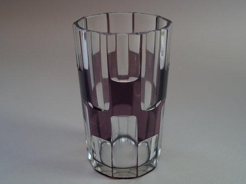 紫色 市松文 切子コップ [M-058]
