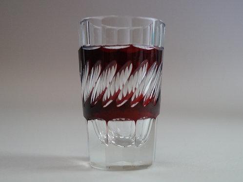 赤色切子ショットグラス [M-070]
