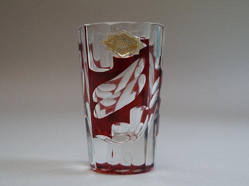 赤色切子ショットグラス シール付き [M-067]