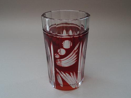 赤色切子コップ [M-014]