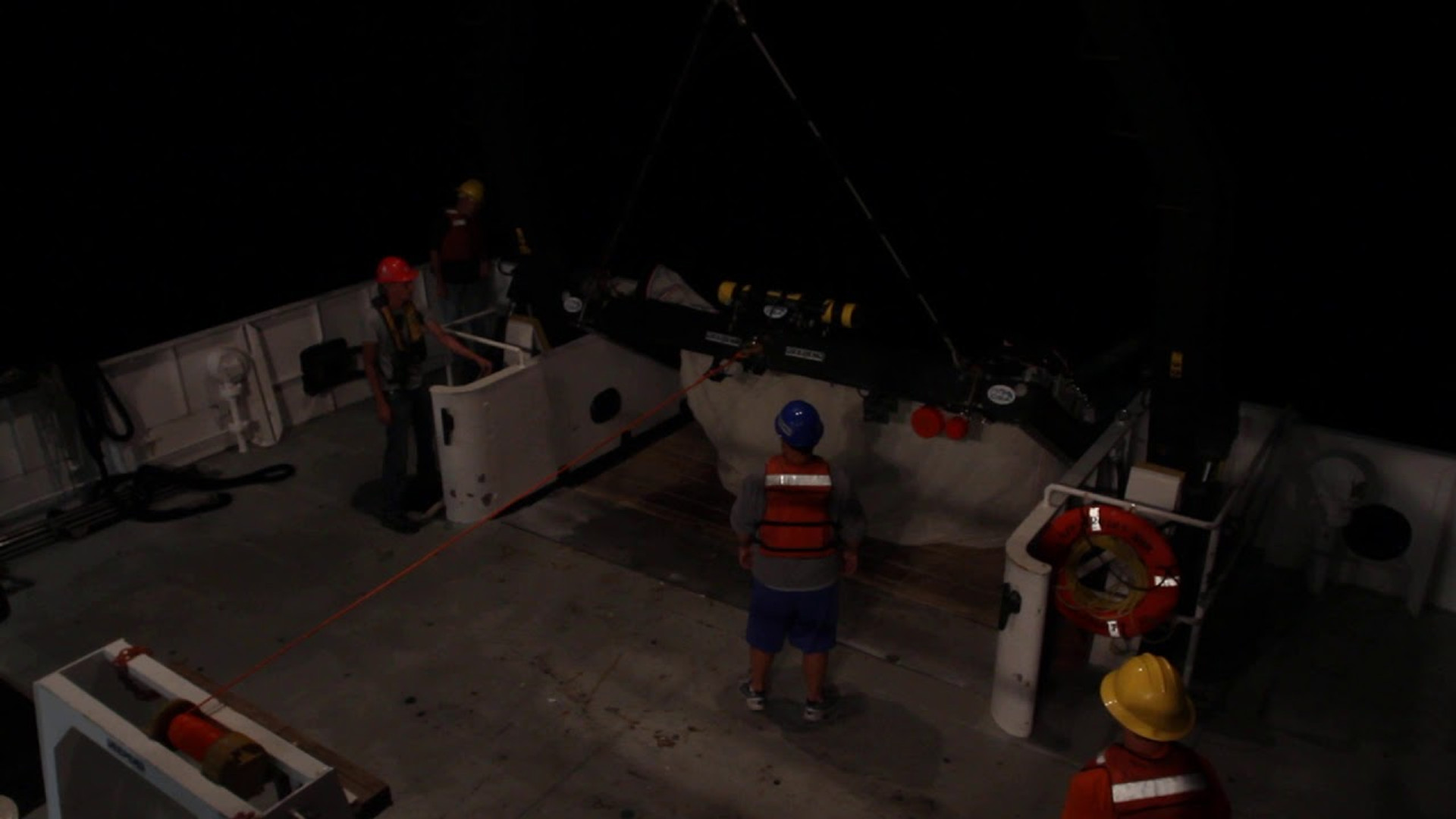 Launching a 10-m2 MOCNESS (Gulf of Mexico)
