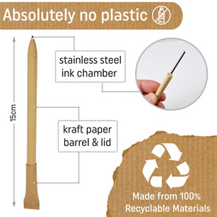 Our eco stationary is made from kraft paper and stainless steel - that's it. Absolutely no plastic!