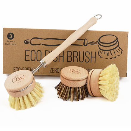 Eco friendly, zero plastic, wooden scrubbing brush.