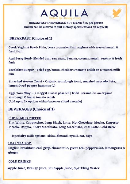 Breakfast & Beverage Set Menu Aquila