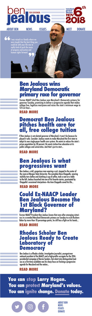 Ben Jealous Newsletter