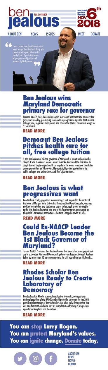 Ben Jealous Newsletter